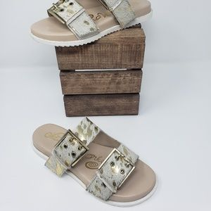 Double Strap with Adjustable Buckle Slip On Sandal